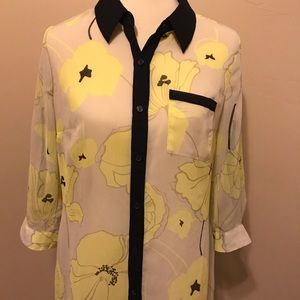 Style and Co Women's Petites floral sheer Blouse